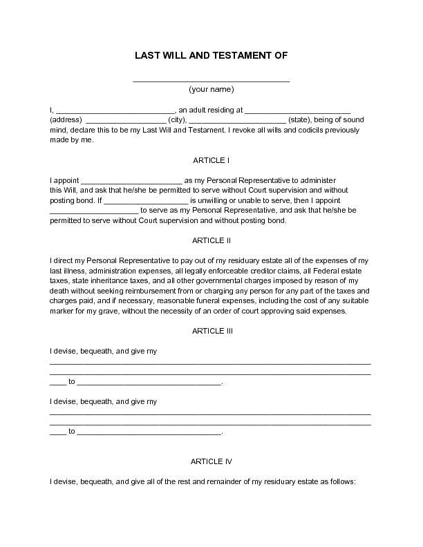 Free Printable Will Template New Printable Sample Last Will And Testament Template Form Last Will And Testament Will And Testament Estate Planning Checklist