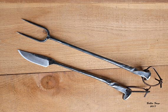 Delux BBQ Knife and Fork Forged from Railroad Spikes