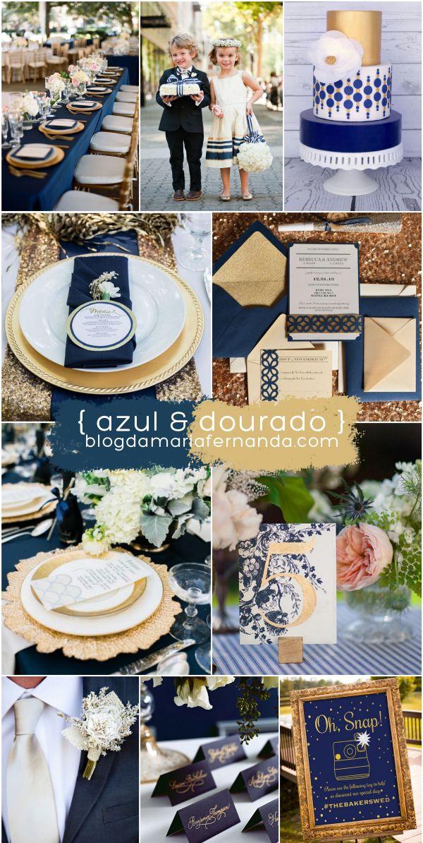 Decoração de Casamento : Paleta de Cores Azul e Dourado | http://blogdamariafernanda.com/decoracao-de-casamento-paleta-de-cores-azul-e-dourado