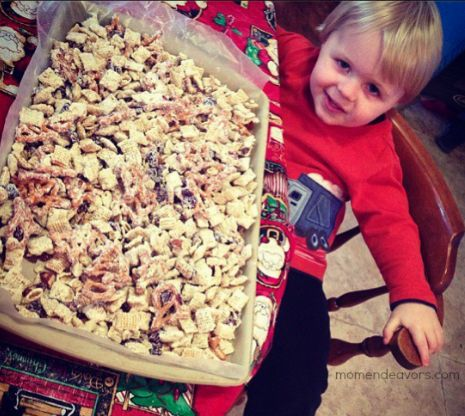 Making Christmas Chex mix