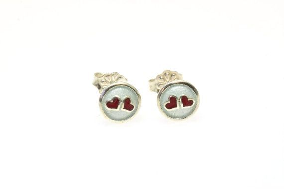 Red Heart EarringsTiny HeartSmall Stud EarringsTeen by Giampouras #heart #love #valentinegift