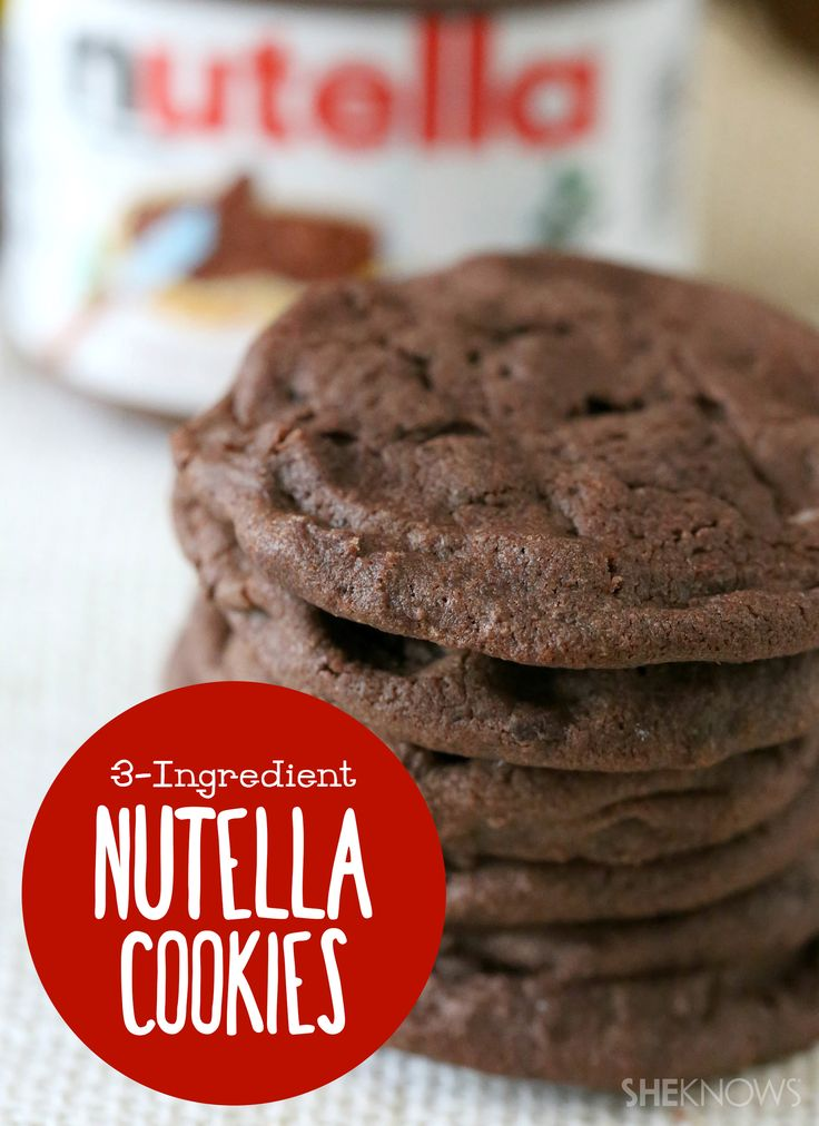 Three-ingredient cookies have been buzzing around Pinterest lately, and hands down, these are some of the best. The fact that you can actually make a real, delicious cookie out of three ingredients is sheer genius, and the chocolate-hazelnut goodness of Nutella makes it almost criminal   #nutella #baking #cookies