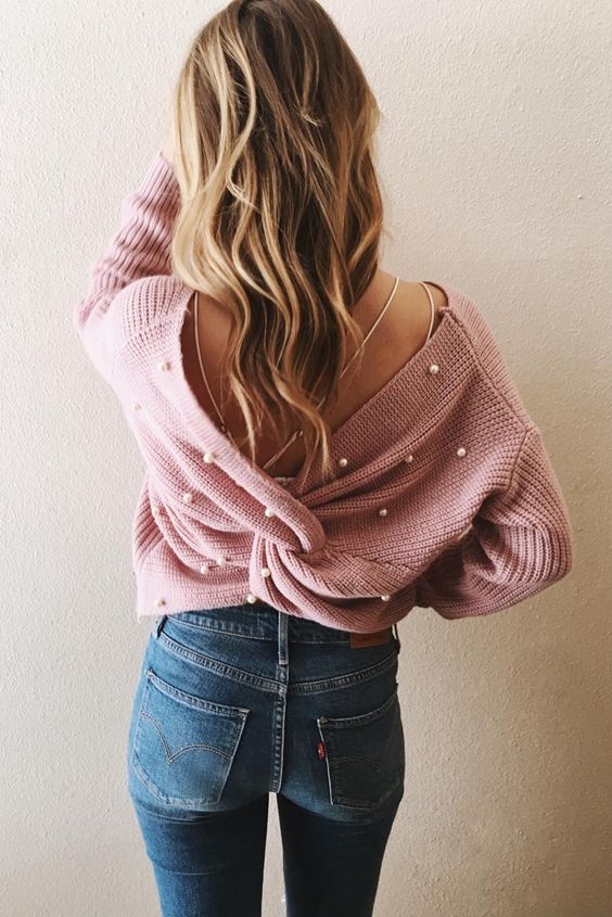 Cute Pearl Beading Twist Infinity Sweater | Stylish outfit ideas for fashion conscious women.