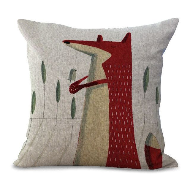 Cartoon Animal Cotton Embrace Pillow Case Fox Bay Window Bedroom Pillow Case Office Chair Cushion