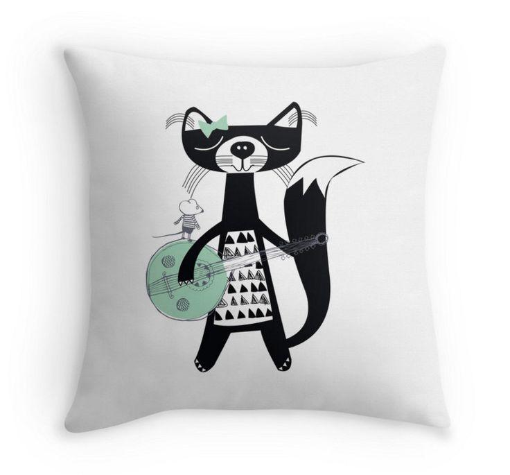 Childrens pillow - Cat Print- childrens Room Decor / Nursery Art Print / Childrens Interior Design/ Childrens soft furnishings/Kids decor by ByBrokenTricycle on Etsy