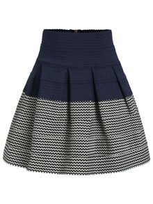 falda plisada cremallera bicolor tiro alto