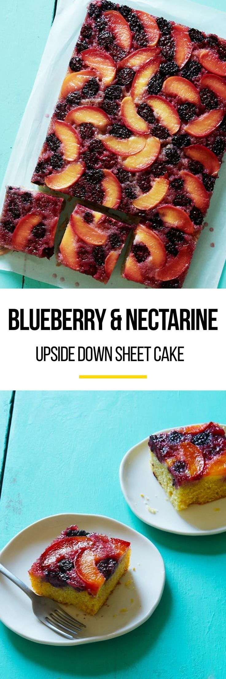 Recipe: Blackberry and Nectarine Upside-Down Sheet Cake | a sparkling combination of inky sweet blackberries and tender nectarines gives a classic yellow cake a jewel-toned finish. If you're due to bring a summery dessert to an office party or barbecue, this upside down cake is for you.