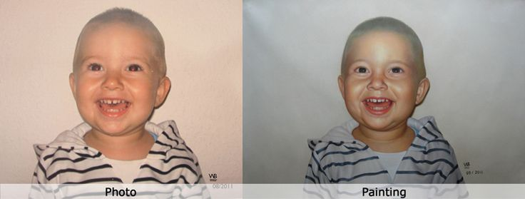 We are the professional painters and we are able to turn your baby's photo into beautiful portrait according to your requirements.