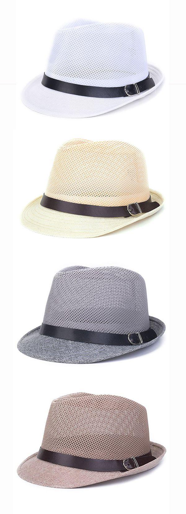 US$6.99 (45% OFF) Men&Women Hollow Out Mesh Top Hat /  Casual Braid Fedora Beach Sun Flax Panama Jazz Hat
