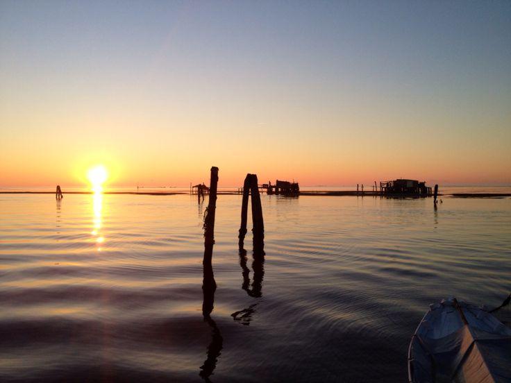 Pellestrina island, venice, sunset, water ombre