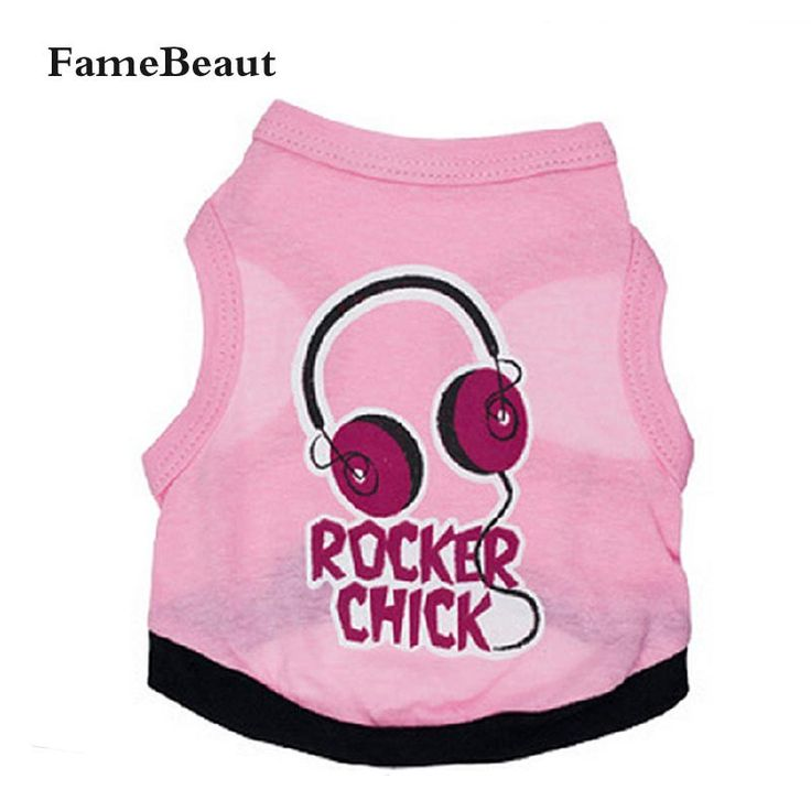 Pink Cotton Pet Vest T-shirt  Fashion Breathable Dog Clothes Headphones Pattern For Summer Bentley Chihuahua Vest For Small Dog //Price: $2.95 & FREE Shipping //     #hashtag3