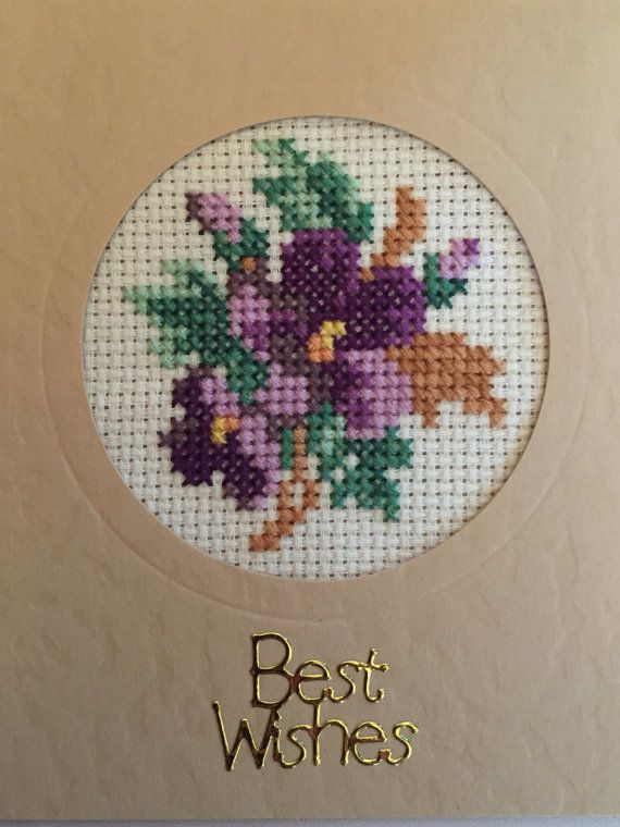 Hand made cross stitch Victorian posies best wishes in card