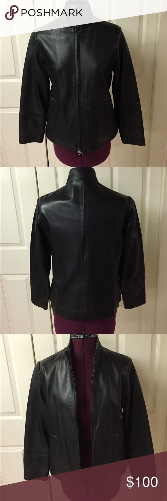 Genuine Lambskin Leather Zippered Jacket. Black. Eddie Bauer Genuine Lambskin Leather Jacket. Black. Size S Petite. Two Side Pockets. Pre-owned. Excellent Condition. Eddie Bauer Jackets & Coats