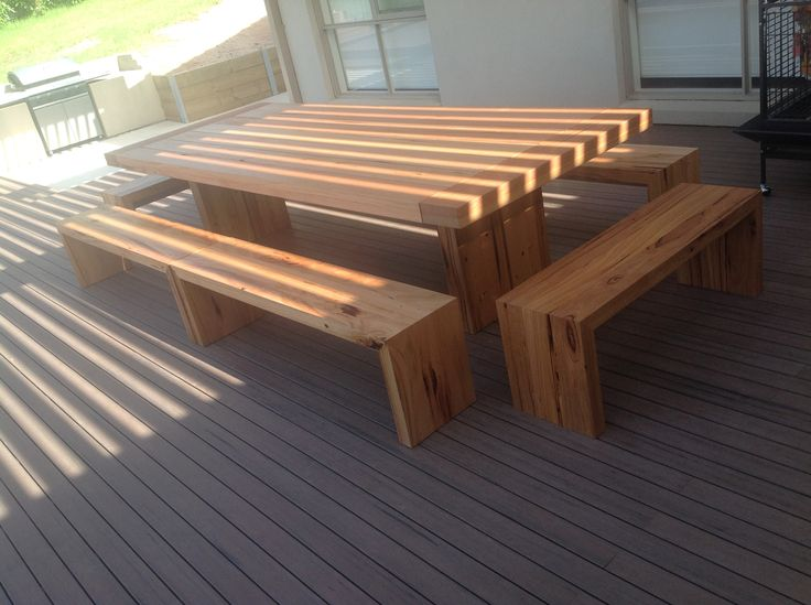 Recycled hardwood timber outdoor setting
