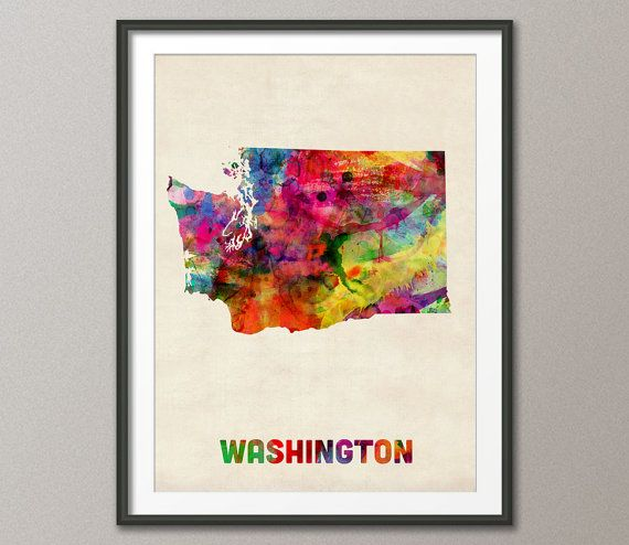 Washington Watercolor Map USA etsy $41- 24x36