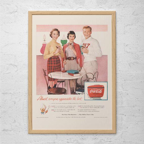 VINTAGE COKE AD - Retro Mid-Century Ad - Vintage Kitchen Poster 1950's Retro Coca-Cola Ad Kitsch Poster Retro Kitchen Art Retro Decor
