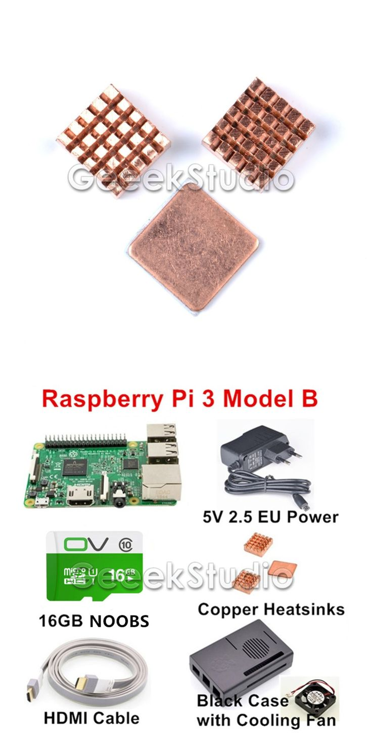 2017 New Raspberry Pi 3 Model B Starter Kit with 16GB SD NOOBS + 5V 2.5A EU/UK/AU/US Power Supply + Copper Heatsinks