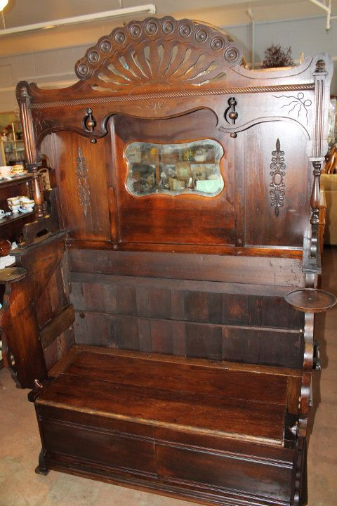 Hall tree with storage bench repurposed from 1880s walnut pump organ. This amazing piece has found a home at The Nightingale House B&B in Tacoma, Washington! http://www.nightingalehouse.co/