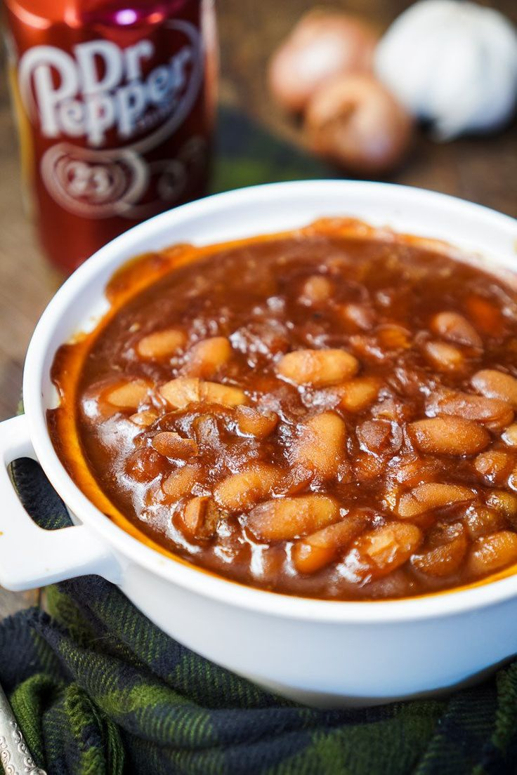 DR. PEPPER BAKED BEANS -- are sweet, delicious and ready in less than an hour! | Featured on www.thebestblogrecipes.com