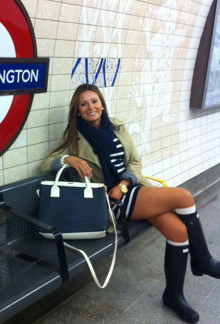 tan blazer, navy & white striped dress, navy scarf, white high-socks, navy Hunters #rain