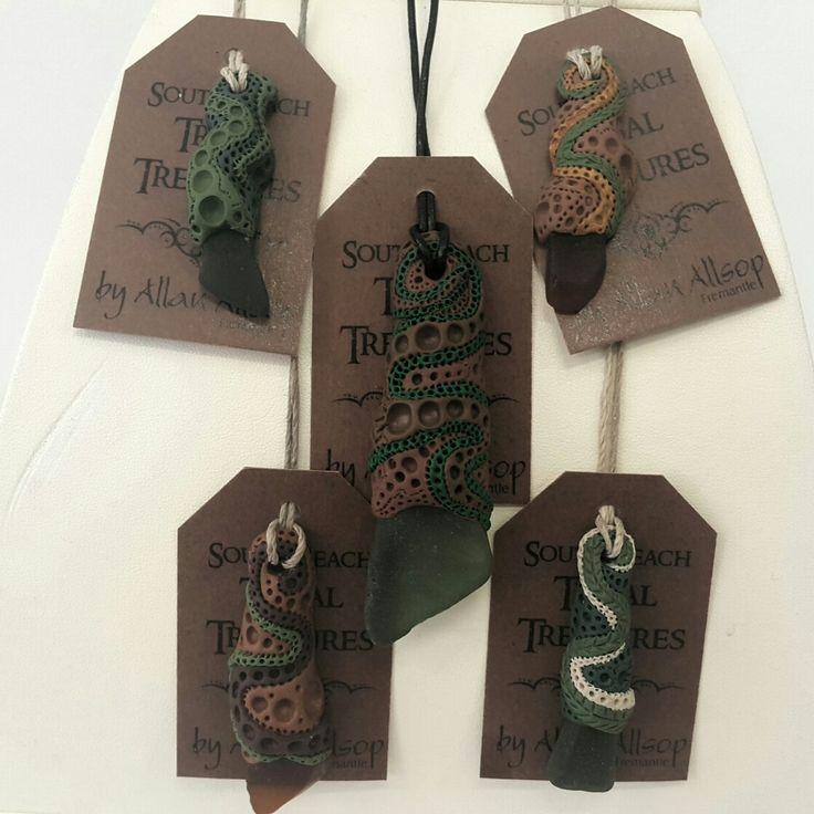 South Sea Tribal Treasures  Seaglass pendants
