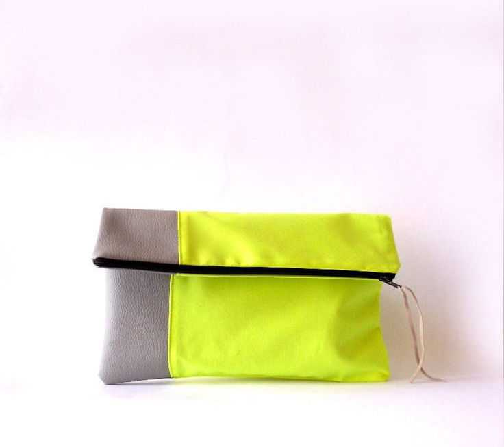 Clutch purse, Fold over.Faux leather , Neon  Fabric , Color Block. $30.00, via Etsy.