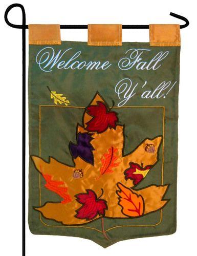 Welcome Fall Y'all Double Applique Garden Flag