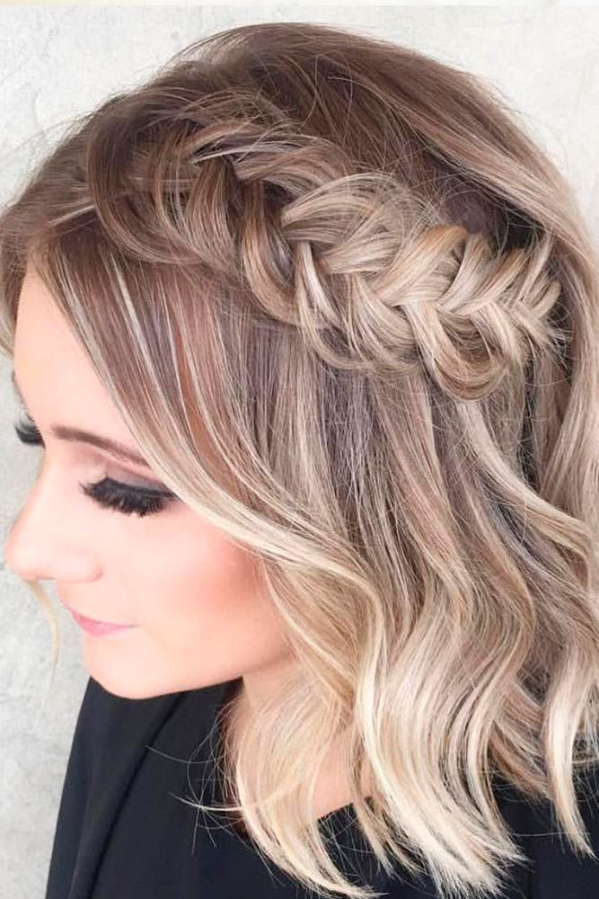 Braided Short Wavy Hair Prom Hairstyles For Short Hair Simple Prom Hair Short Hair Pictures