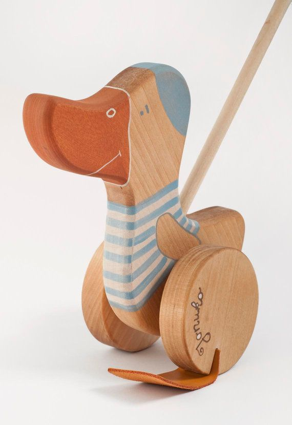 Personalized Wooden Goose Push Toy eco friendly by FriendlyToys