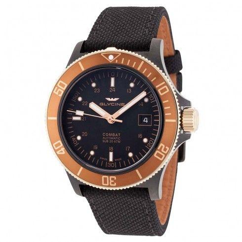 Glycine Combat Sub Black Dial Automatic Men's Nylon Watch GL0093
