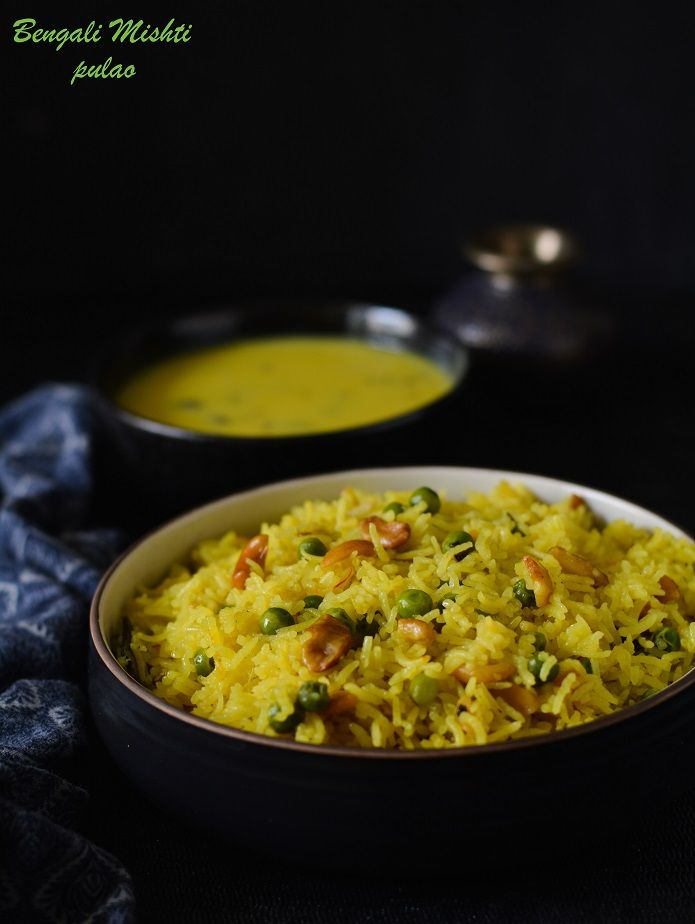A very popular and delicious rice preparation with saffron,nuts and a hint of sugar- a Durga Pooja special recipe from Bengal,