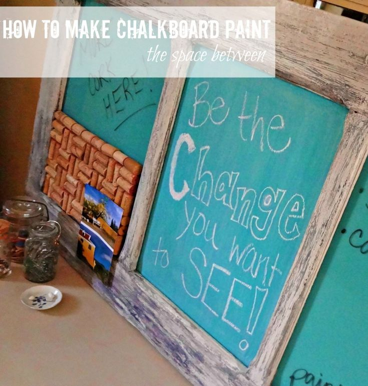"""How to make chalkboard paint: a DIY tutorial by Kelly at """"View Along the Way"""" (via """"The Space Between"""")."""