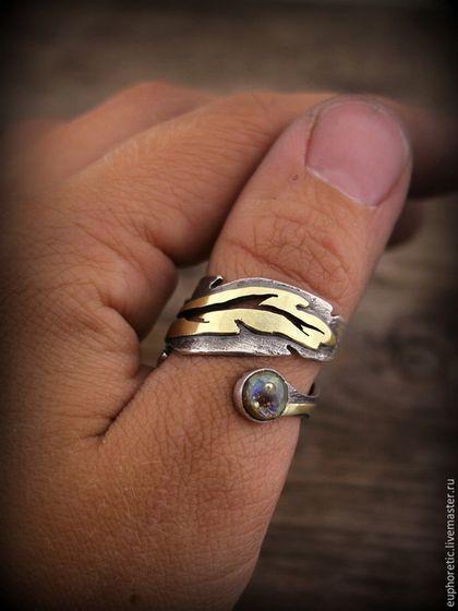 "Rings ručně vyrobený.  ""Phoenix Feather"" lampwork stříbrný prsten.  Euphoretic.  Fair Masters.  Etnické, copyright ring palec ring"