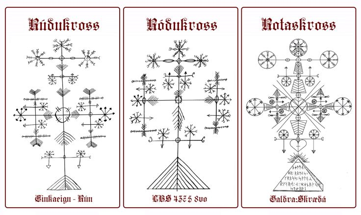 """Rúdukross - Ródukross - Rotaskross  For Protection Against Evil.   Translates to """"Rood Cross"""". The one from Galdraskraeda comes with words written in 16th century runes: """"this is rotas cross - sun cult of Enoch's pillar"""". and has many Masonic references.   Actually there is even more to it which I have omitted, including drawings of the Four Evangelists in their animal form. The """"Rotas"""" variation is a reference to the very ancient magical Sator Arepo Square."""