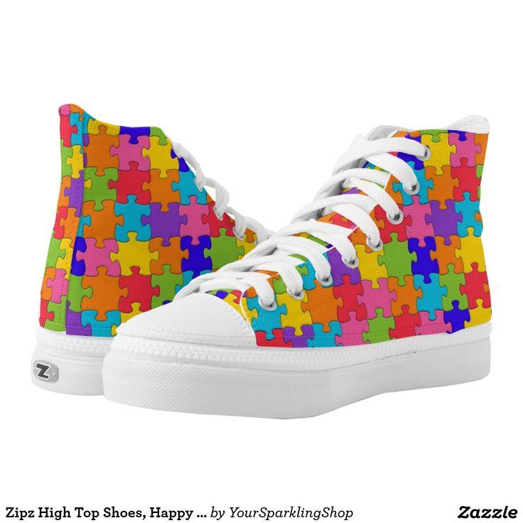 Zipz High Top Shoes, Happy Puzzler Puzzle Pieces #Funny #Shoes