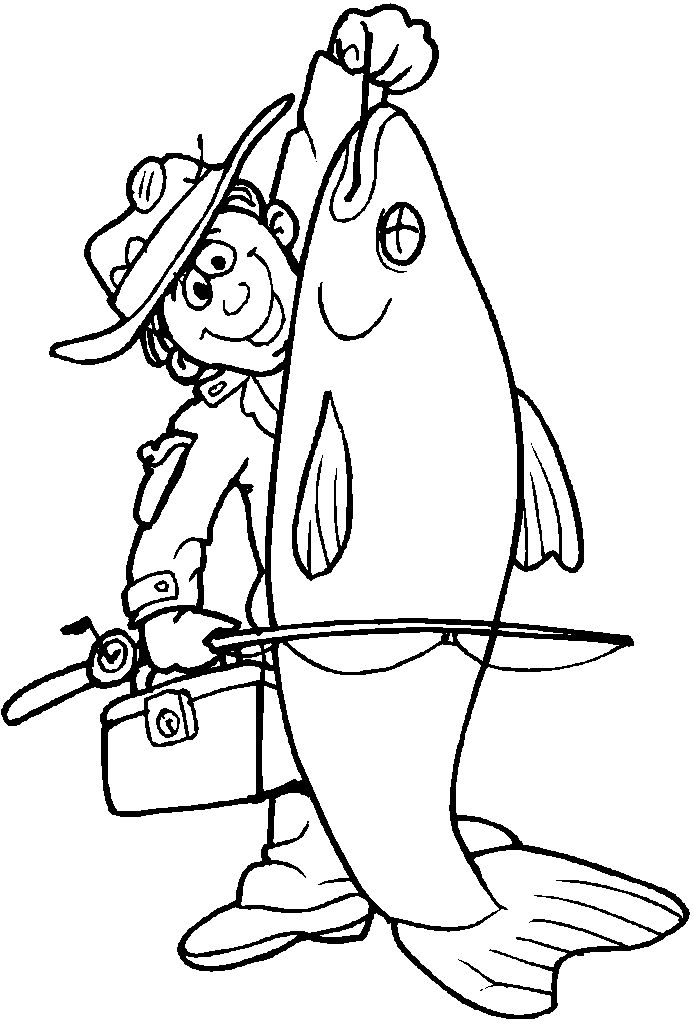 Картинка раскраска про рыбалку