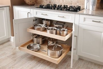 Two roll-out shelves under cooktop. - Wentworth - contemporary - kitchen - chicago - Innermost Cabinets