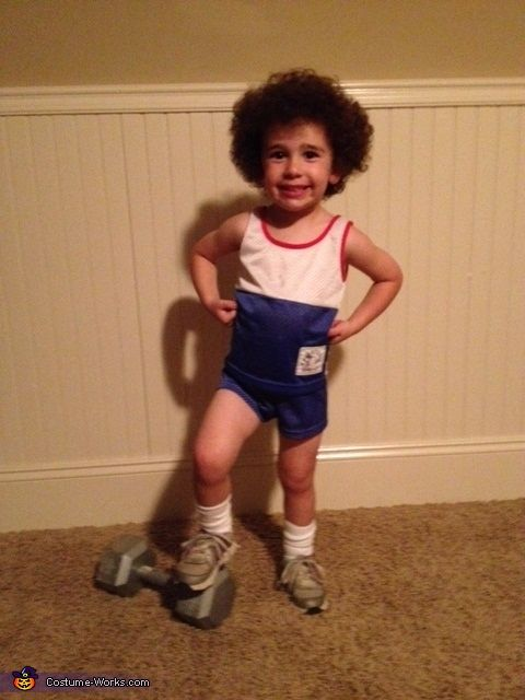 Rachel: My 3yr old son dressed up like Richard Simmons. He has natural curly hair so we just brushed it out.