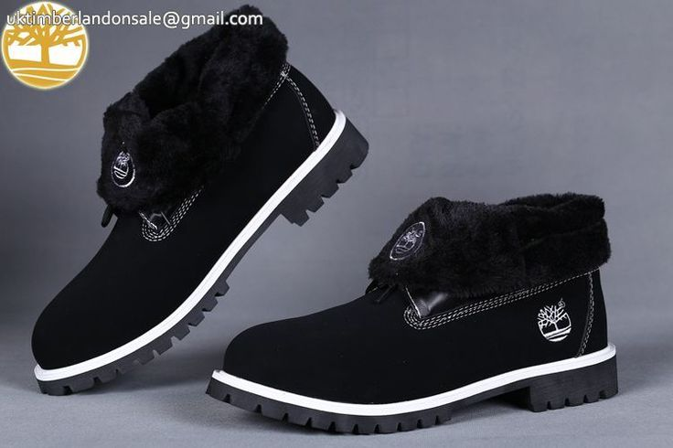 Custom Timberland Roll Top Black-White Cheap Mens Wool Boots $90.99