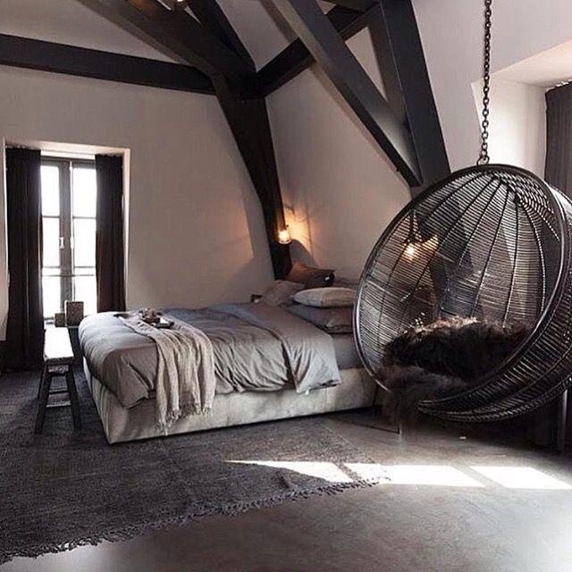 Love this cosy dark bedroom!