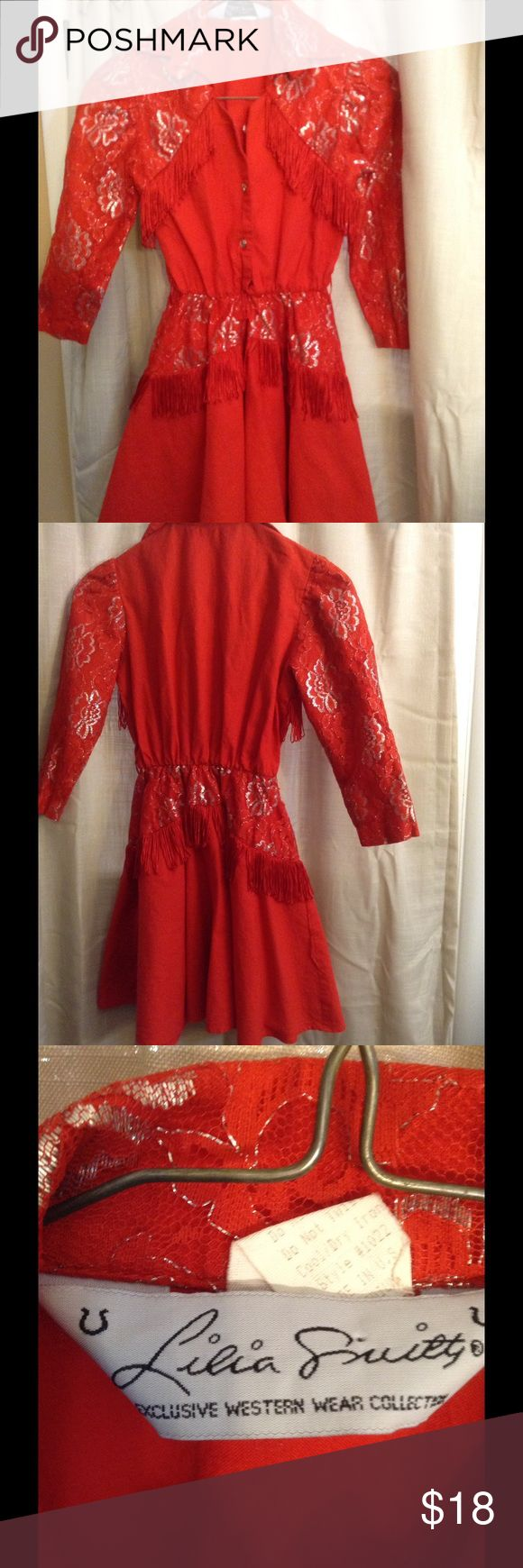 Authentic girl's western wear dress and hat. Vintage Lilia Smitty girl's dress.  Beautiful fringe and lace trim.  Approximately 3 little stains on skirt that are hardly noticeable. Lilia Smitty Dresses Casual