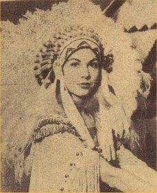 Martyne Woods, Choctaw, Miss Oklahoma, 1940, Oklahoma A & M (OSU, Stillwater).  Woman in a bonnet, scandalous!