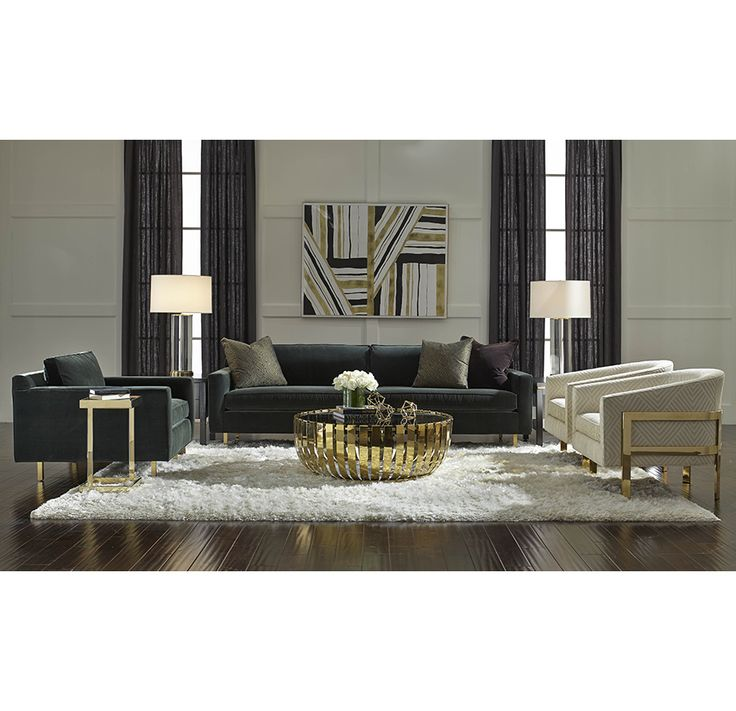 Mitchell Gold + Bob Williams - Deep Hollywood Glam - Hunter Sofa and Chair with the Avery chair in white accented in gold, complimented by the gold Vega Coffee Table.