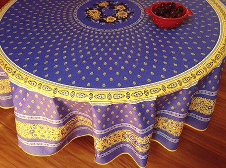 Large Round Provencal Acrylic Coated Bastide Lavende Tablecloth