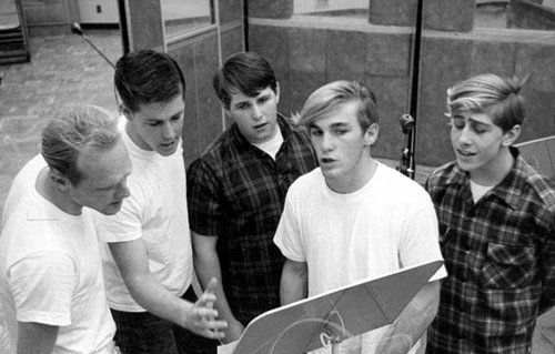 The Beach Boys original group included Brian, Dennis and Carl Wilson, their cousin Mike Love, and their friend David Marks. Description from weinerelementary.org.