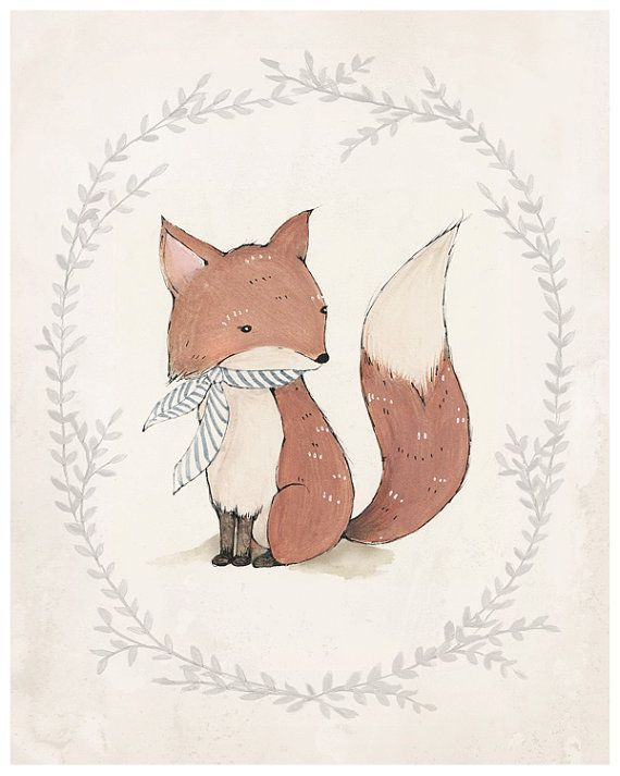Obsessed with Kelly Murray's art...Mr. Fox Print 8X10 by KelliMurrayArt on Etsy, $22.00: