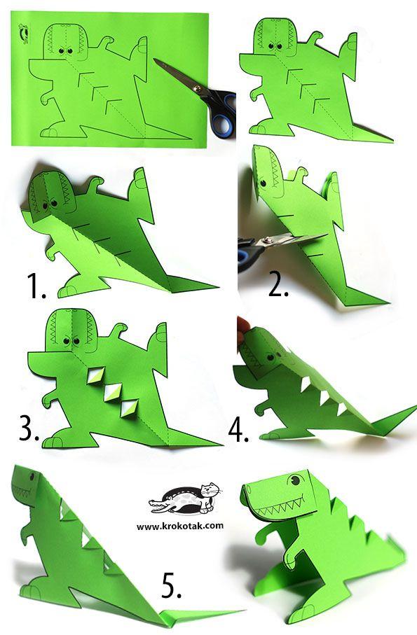Glue-lee printable dinosaur