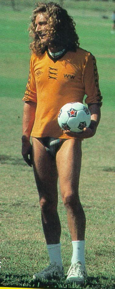 Robert Plant plays soccer in his Speedos, 1977.