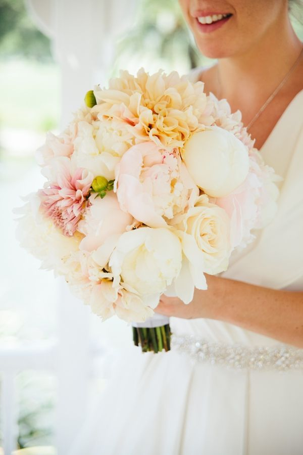 Peonies, Dahlias and Roses hand tied, round wedding bouquet, blush pink, peach, cream and white