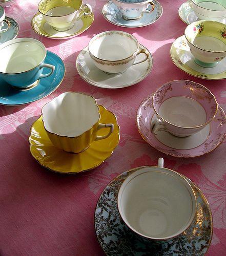 Tea Time: Teas Parties Shower, Teas Time, Idea, Color, Tea Parties, Teas Sets, Tea Cups, Teacups, Vintage Teas Cups